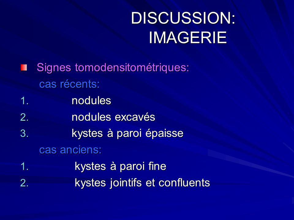 DISCUSSION: IMAGERIE Signes tomodensitométriques: cas récents: nodules