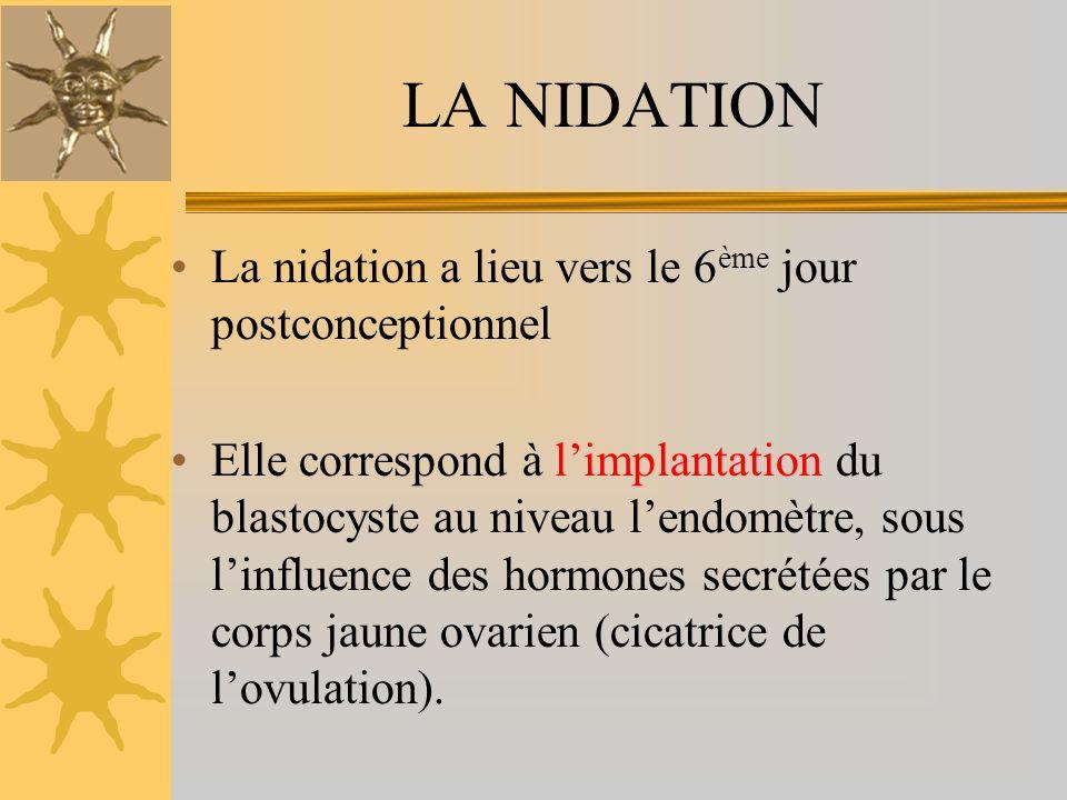 LA NIDATION La nidation a lieu vers le 6ème jour postconceptionnel