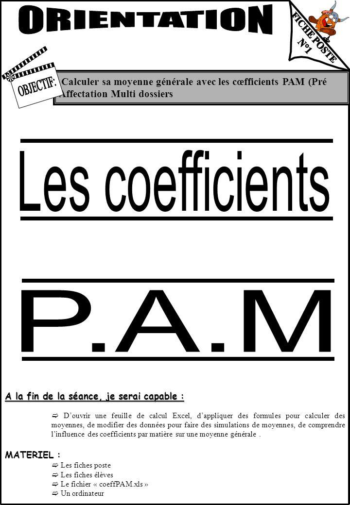 ORIENTATION Les coefficients P.A.M FICHE POSTE N°1 OBJECTIF: