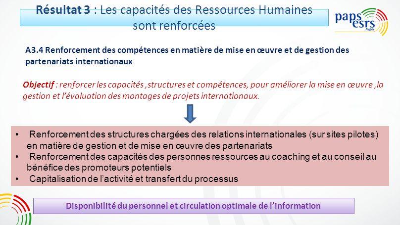 Résultat 3 : Les capacités des Ressources Humaines sont renforcées