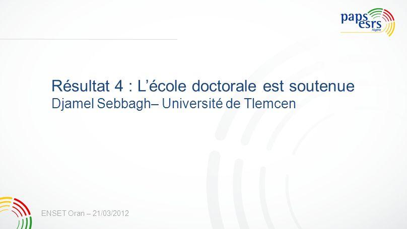 Résultat 4 : L'école doctorale est soutenue
