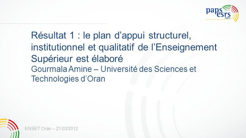 Résultat 1 : le plan d'appui structurel, institutionnel et qualitatif de l'Enseignement Supérieur est élaboré