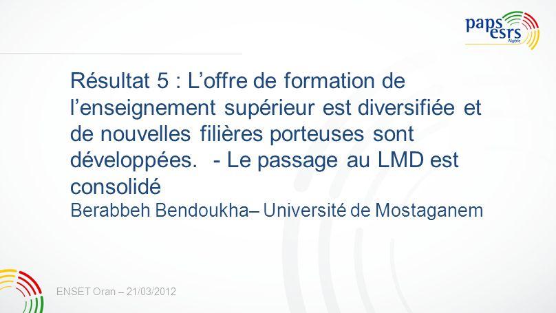 Résultat 5 : L'offre de formation de l'enseignement supérieur est diversifiée et de nouvelles filières porteuses sont développées. - Le passage au LMD est consolidé