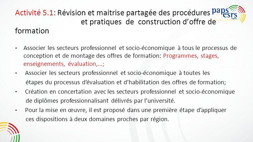 Activité 5.1: Révision et maitrise partagée des procédures et pratiques de construction d'offre de formation