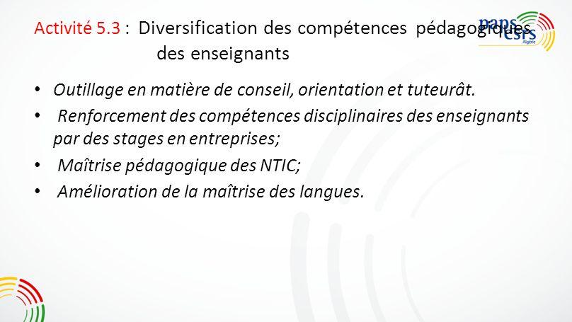 Activité 5.3 : Diversification des compétences pédagogiques des enseignants