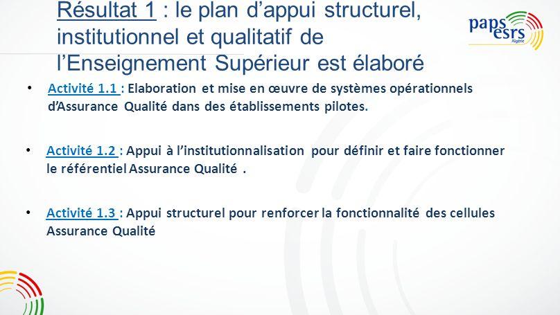 4 Résultat 1 : le plan d'appui structurel, institutionnel et qualitatif de l'Enseignement Supérieur est élaboré.