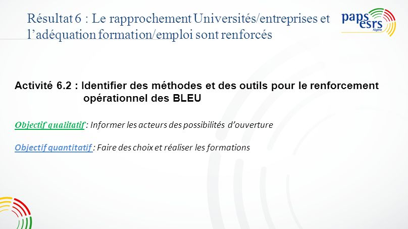 4545 Résultat 6 : Le rapprochement Universités/entreprises et l'adéquation formation/emploi sont renforcés.