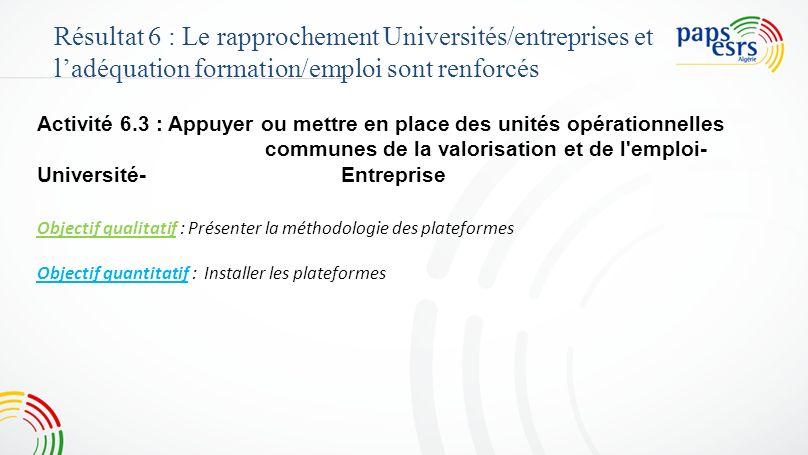 4747 Résultat 6 : Le rapprochement Universités/entreprises et l'adéquation formation/emploi sont renforcés.