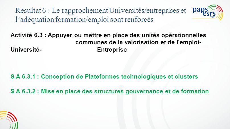 4848 Résultat 6 : Le rapprochement Universités/entreprises et l'adéquation formation/emploi sont renforcés.