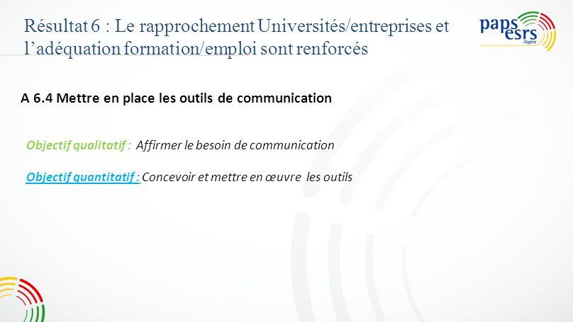 Résultat 6 : Le rapprochement Universités/entreprises et l'adéquation formation/emploi sont renforcés