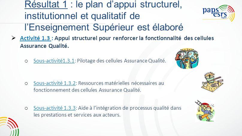 7 Résultat 1 : le plan d'appui structurel, institutionnel et qualitatif de l'Enseignement Supérieur est élaboré.