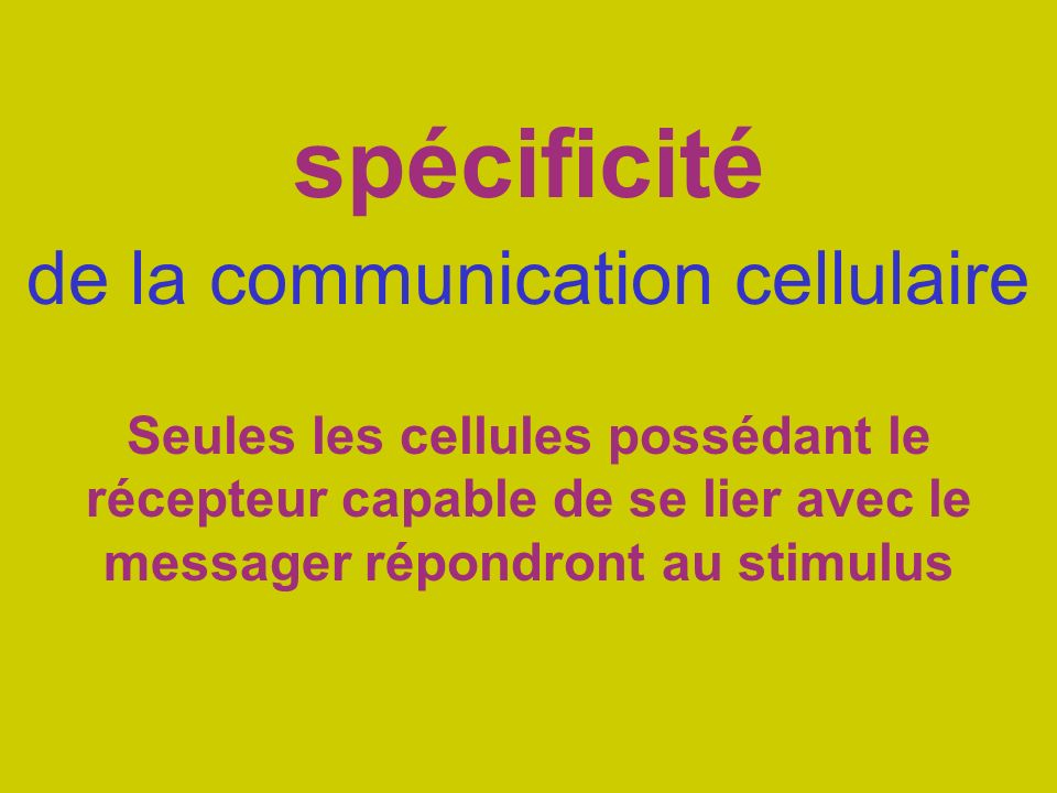 spécificité de la communication cellulaire