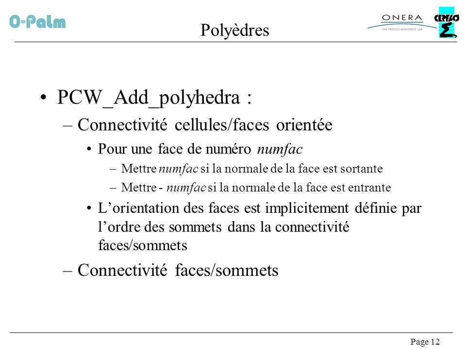 PCW_Add_polyhedra : Polyèdres Connectivité cellules/faces orientée