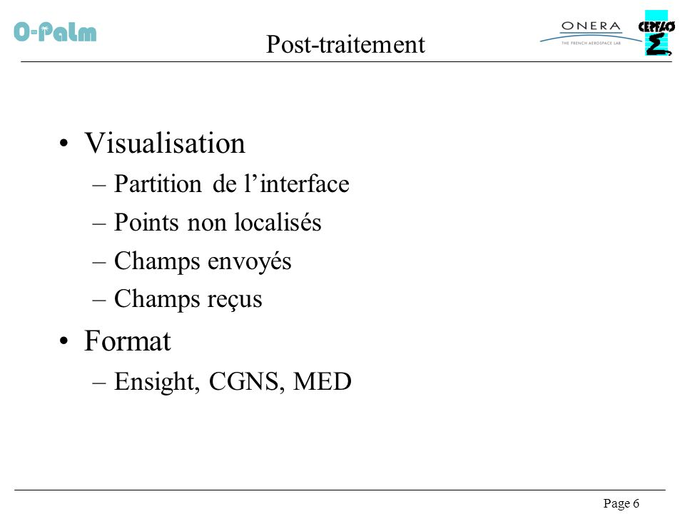 Visualisation Format Post-traitement Partition de l'interface