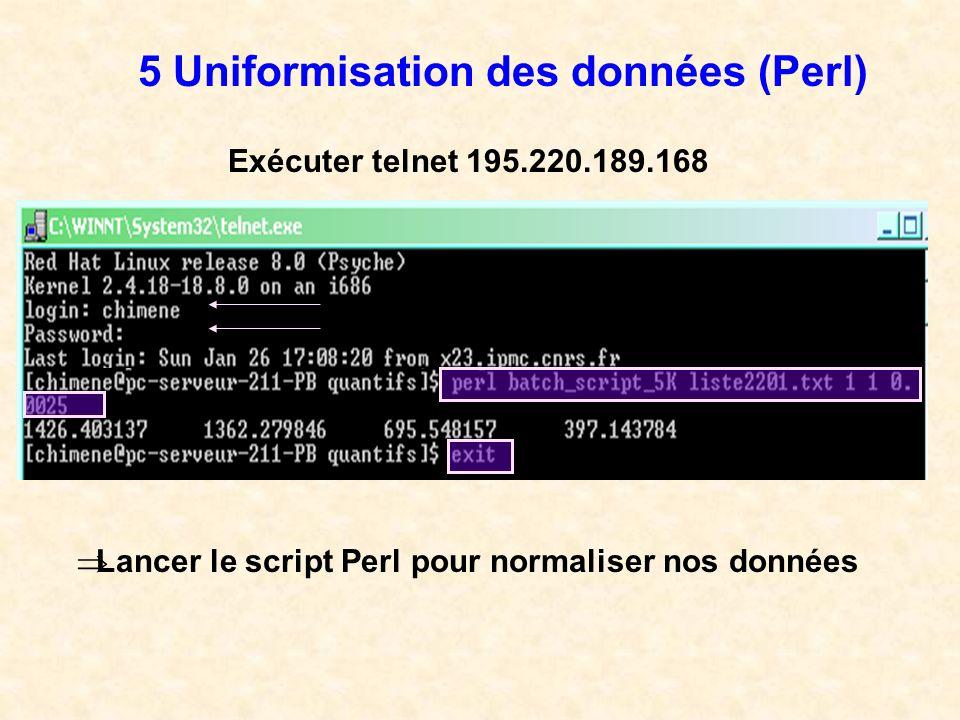 Lancer le script Perl pour normaliser nos données