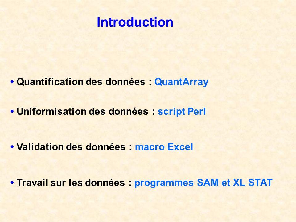 Introduction • Quantification des données : QuantArray