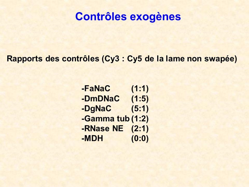 Contrôles exogènes Rapports des contrôles (Cy3 : Cy5 de la lame non swapée) -FaNaC (1:1) -DmDNaC (1:5)