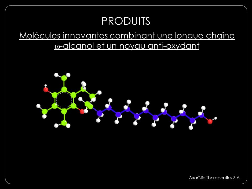 PRODUITS Molécules innovantes combinant une longue chaîne w-alcanol et un noyau anti-oxydant.