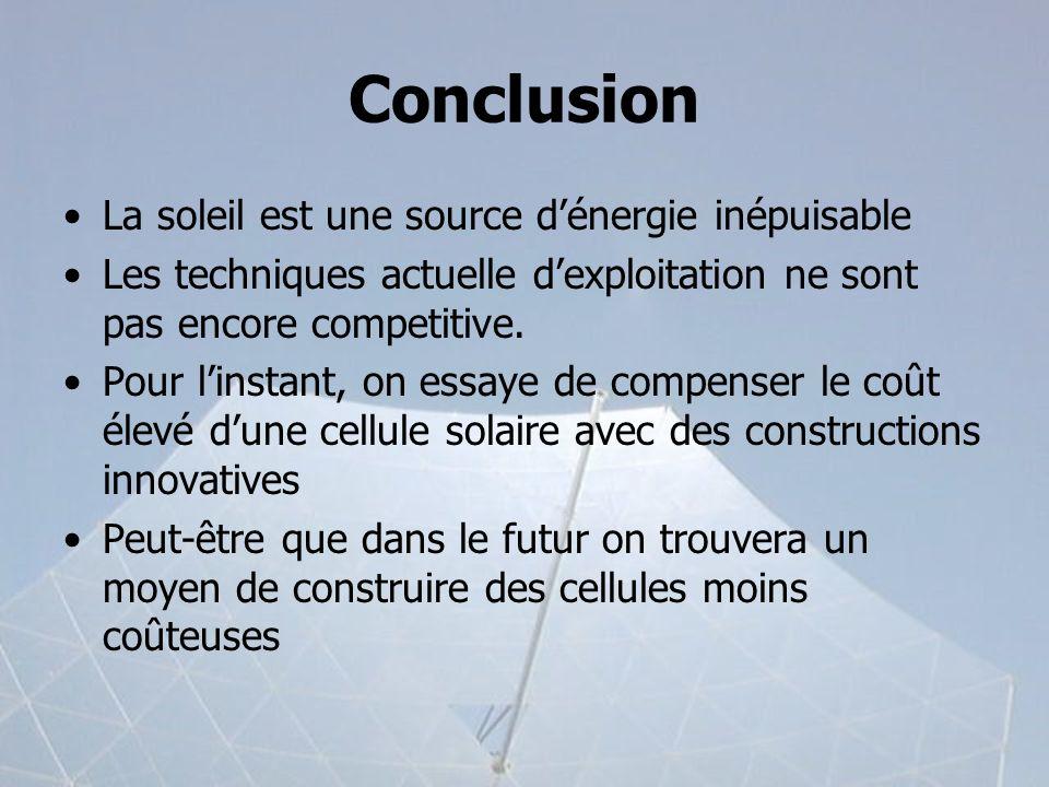 Conclusion La soleil est une source d'énergie inépuisable