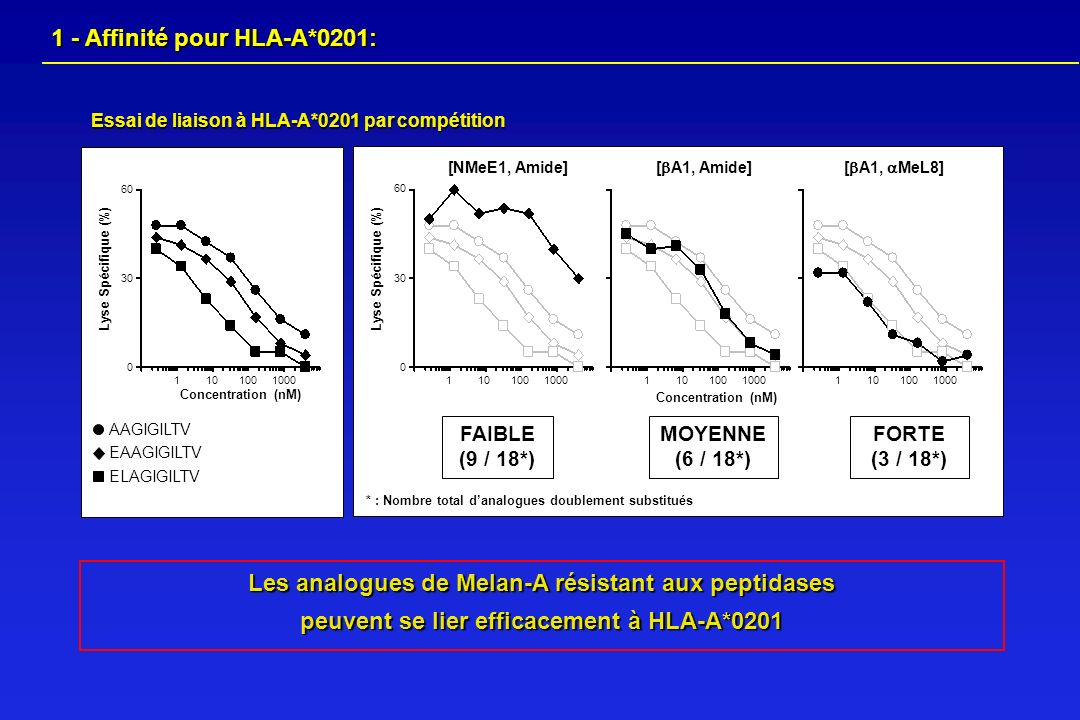 1 - Affinité pour HLA-A*0201: