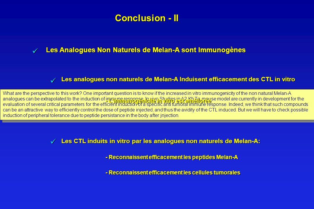 Conclusion - II Les Analogues Non Naturels de Melan-A sont Immunogènes.  