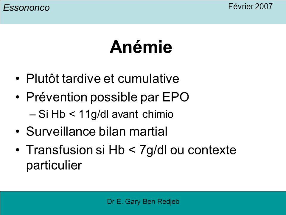 Anémie Plutôt tardive et cumulative Prévention possible par EPO