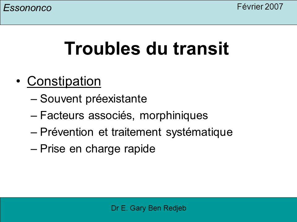 Troubles du transit Constipation Souvent préexistante