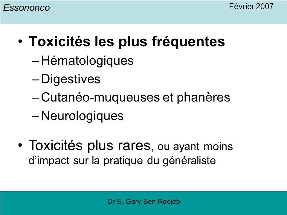 Toxicités les plus fréquentes