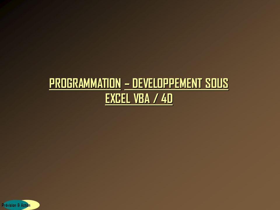PROGRAMMATION – DEVELOPPEMENT SOUS EXCEL VBA / 4D