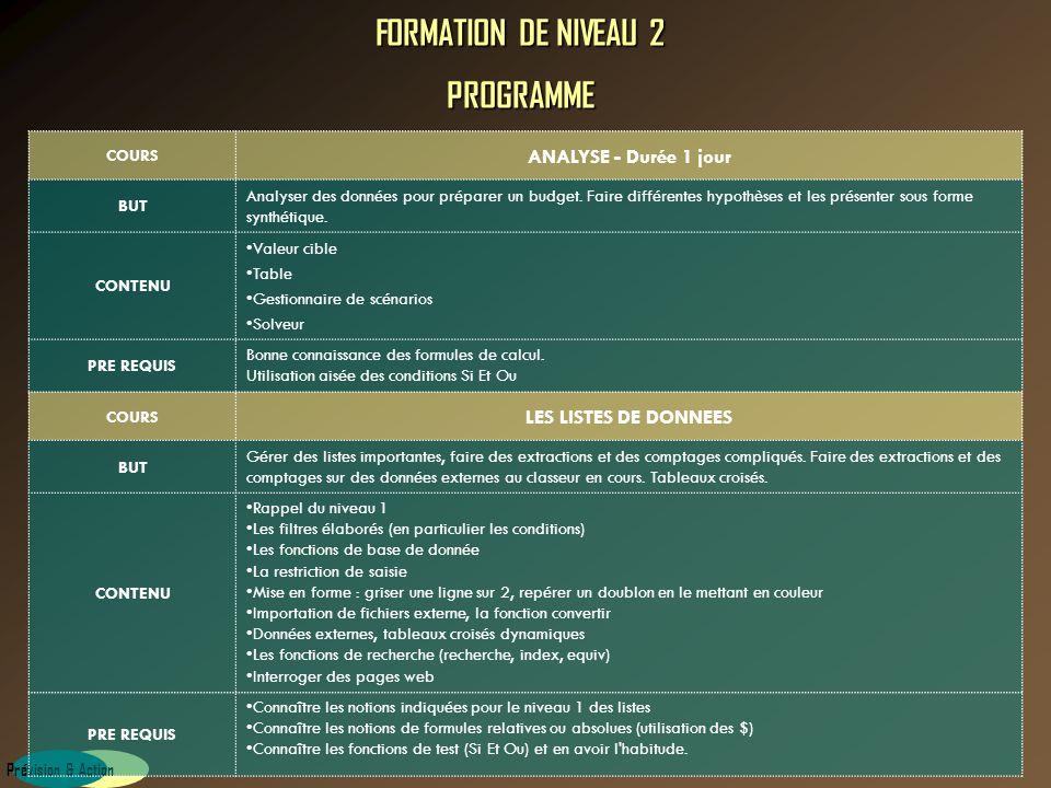 FORMATION DE NIVEAU 2 PROGRAMME
