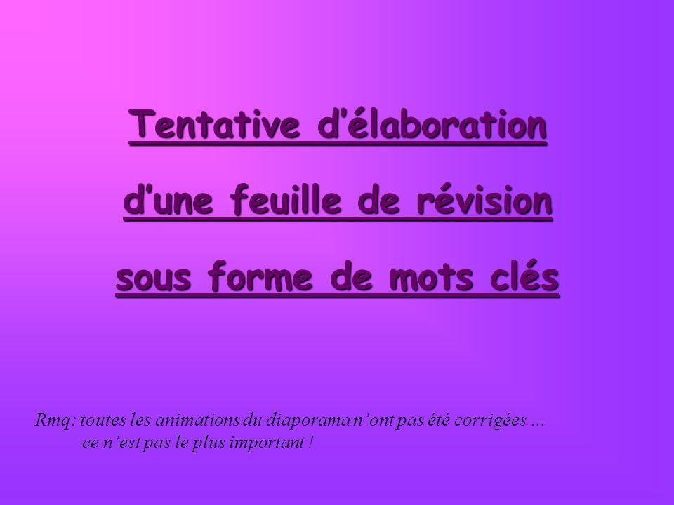 Tentative d'élaboration d'une feuille de révision sous forme de mots clés