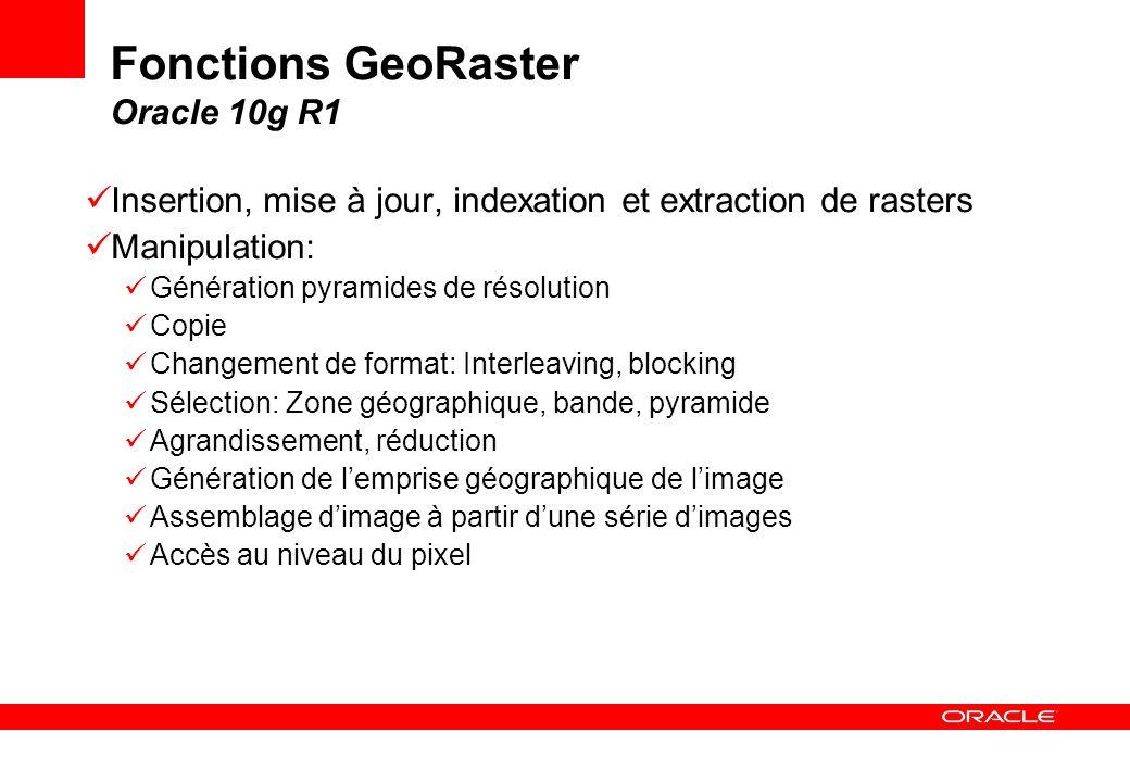 Fonctions GeoRaster Oracle 10g R1