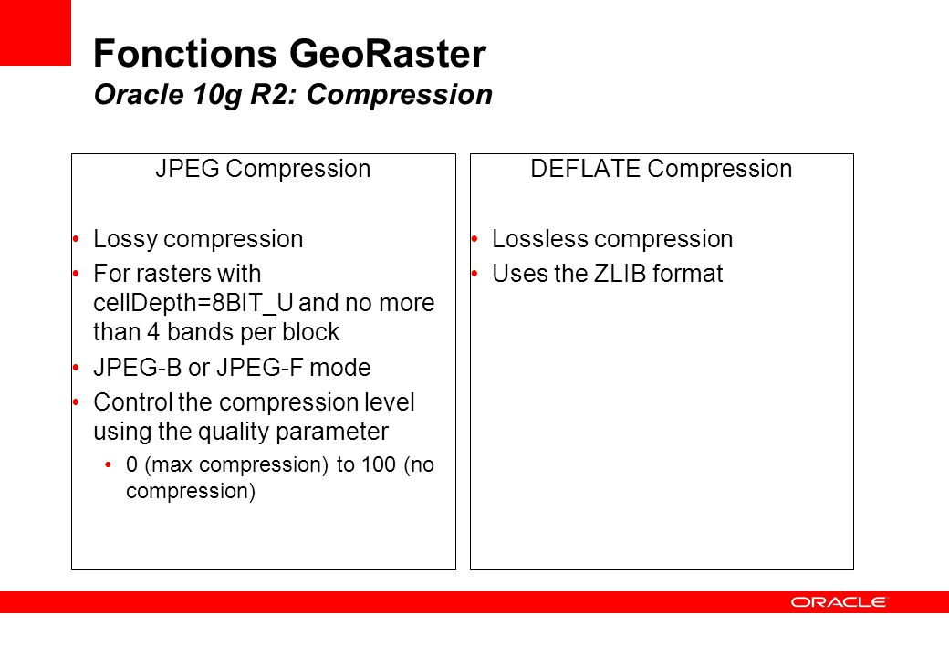 Fonctions GeoRaster Oracle 10g R2: Compression