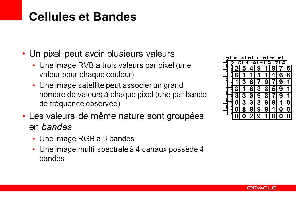 Cellules et Bandes Un pixel peut avoir plusieurs valeurs