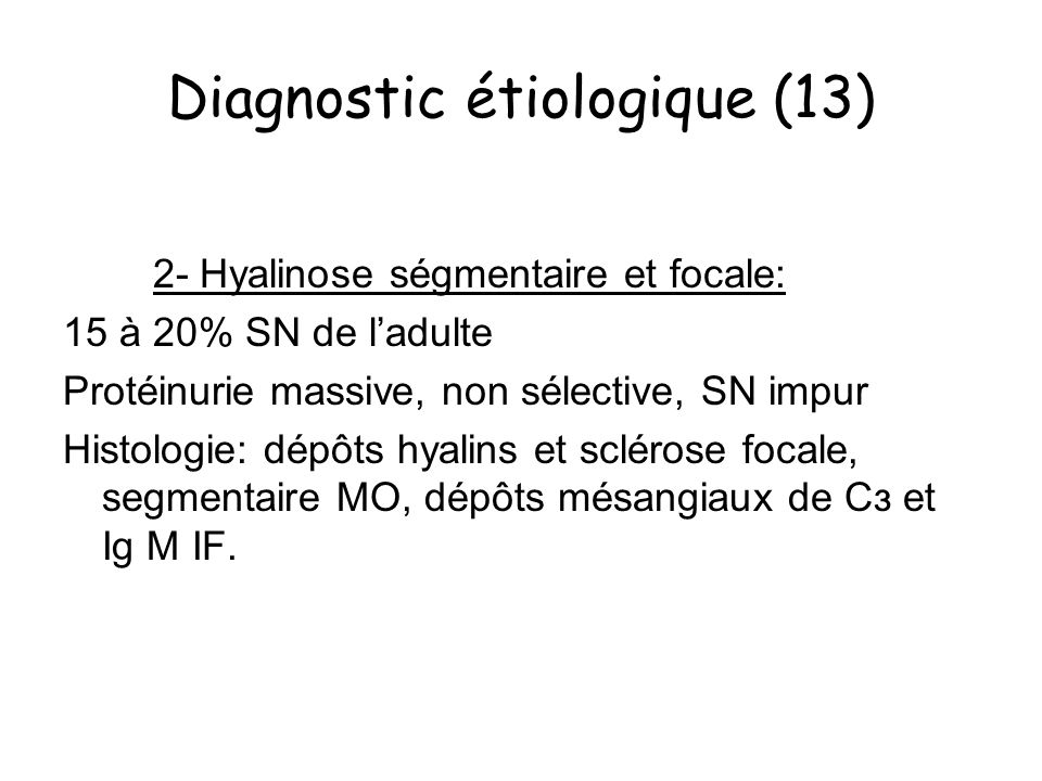 Diagnostic étiologique (13)
