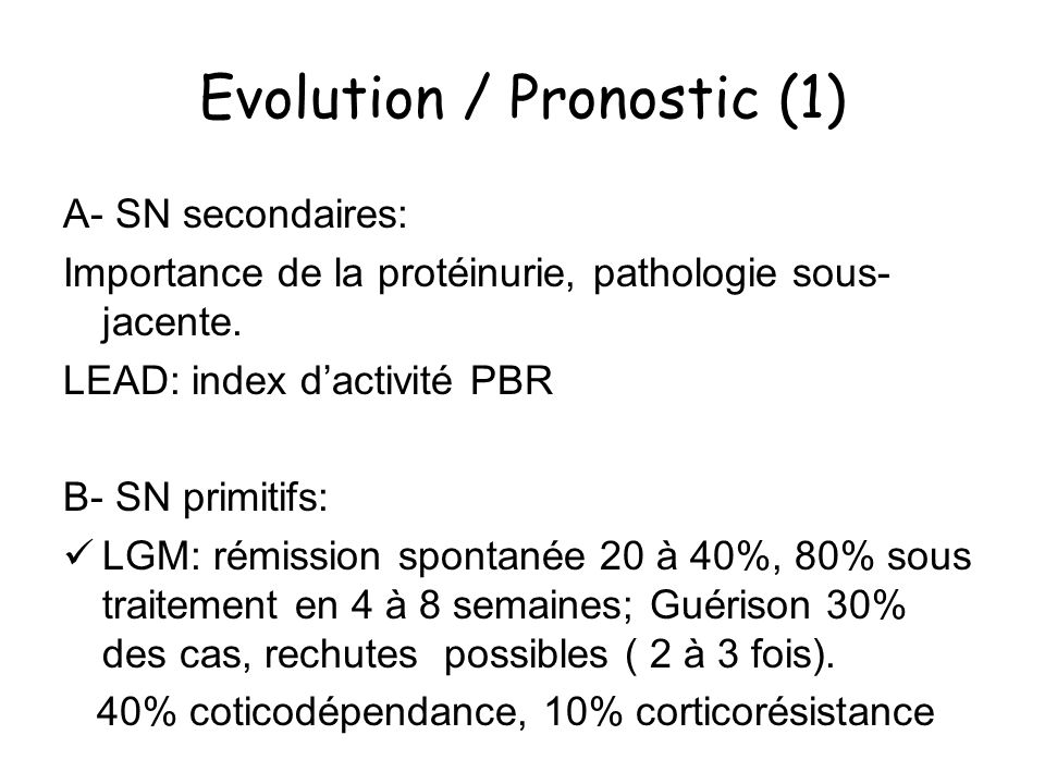 Evolution / Pronostic (1)