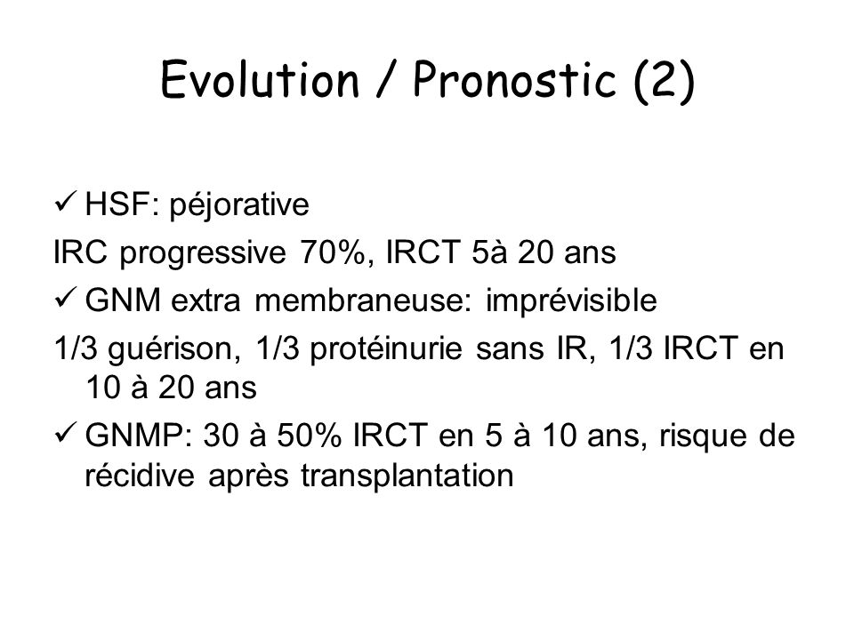 Evolution / Pronostic (2)