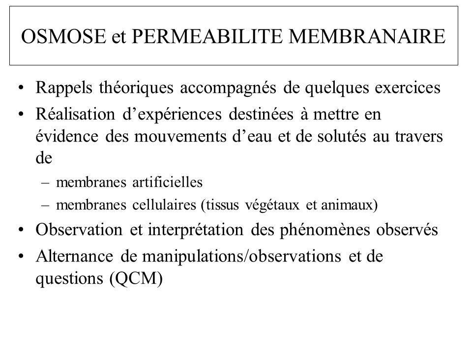 OSMOSE et PERMEABILITE MEMBRANAIRE
