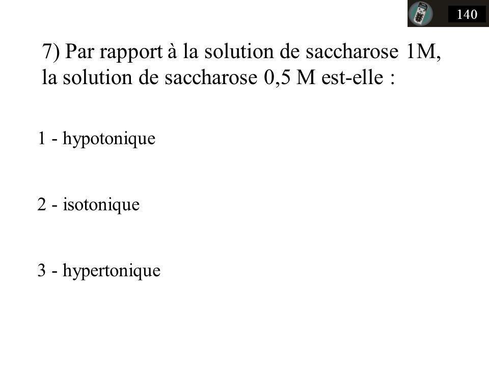 140 7) Par rapport à la solution de saccharose 1M, la solution de saccharose 0,5 M est-elle : 1 - hypotonique.