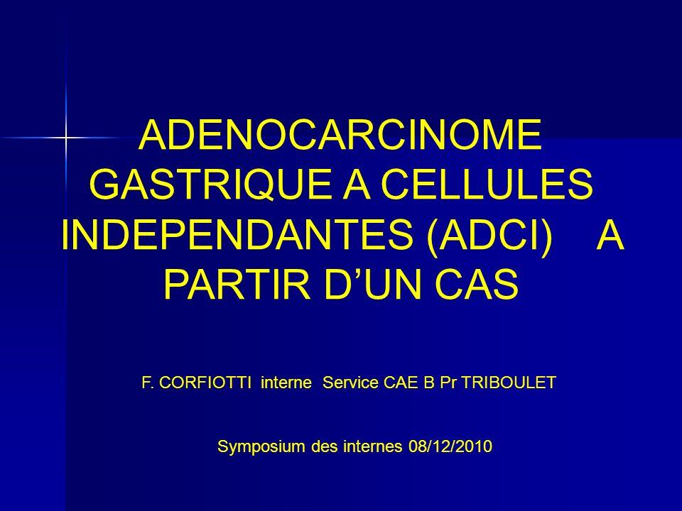 ADENOCARCINOME GASTRIQUE A CELLULES INDEPENDANTES (ADCI) A PARTIR D'UN CAS