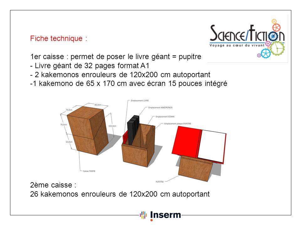 Fiche technique : 1er caisse : permet de poser le livre géant = pupitre. - Livre géant de 32 pages format A1.