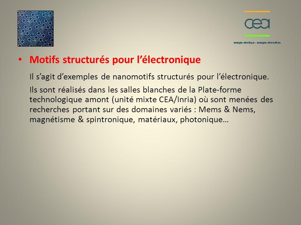 Il s'agit d'exemples de nanomotifs structurés pour l'électronique.
