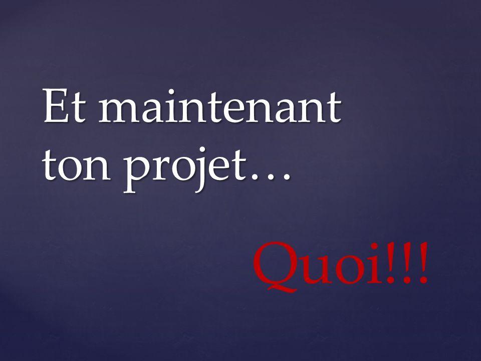Et maintenant ton projet…