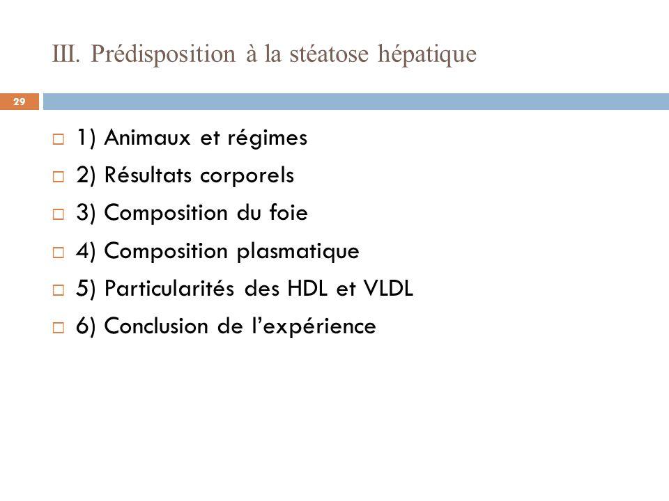 III. Prédisposition à la stéatose hépatique