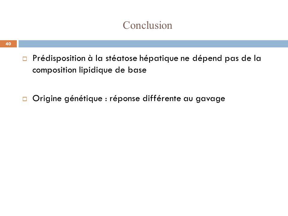 Conclusion Prédisposition à la stéatose hépatique ne dépend pas de la composition lipidique de base.