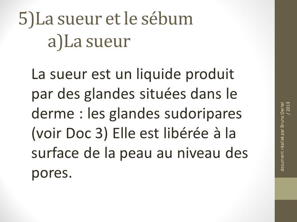 5)La sueur et le sébum a)La sueur