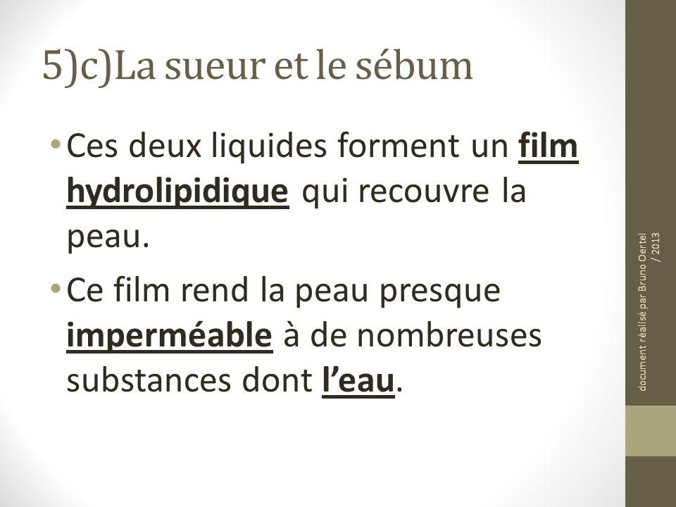 5)c)La sueur et le sébum Ces deux liquides forment un film hydrolipidique qui recouvre la peau.