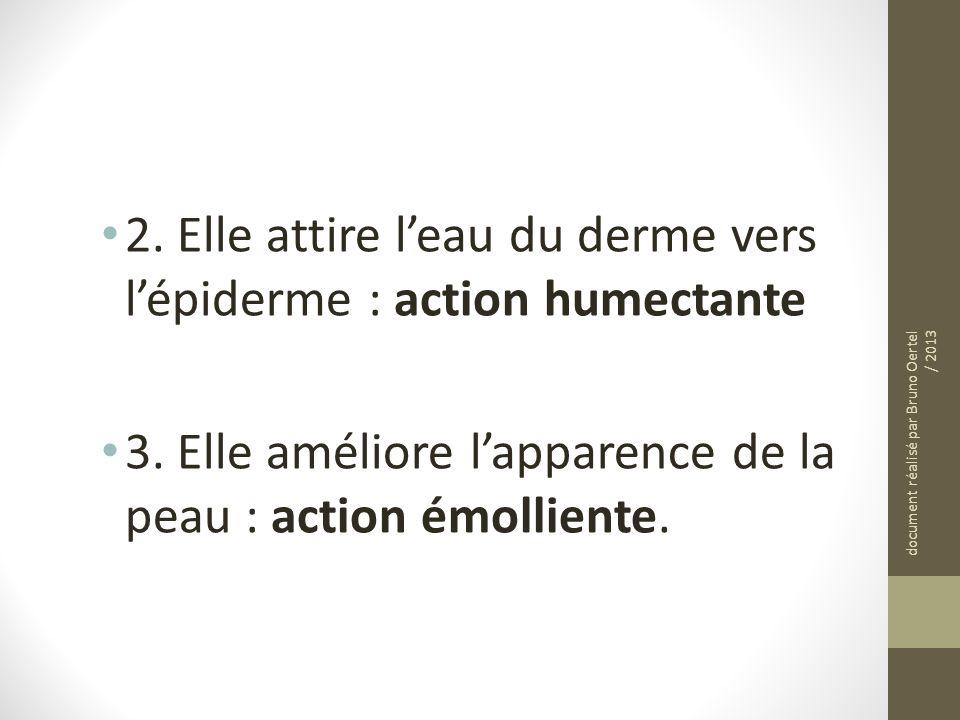 2. Elle attire l'eau du derme vers l'épiderme : action humectante