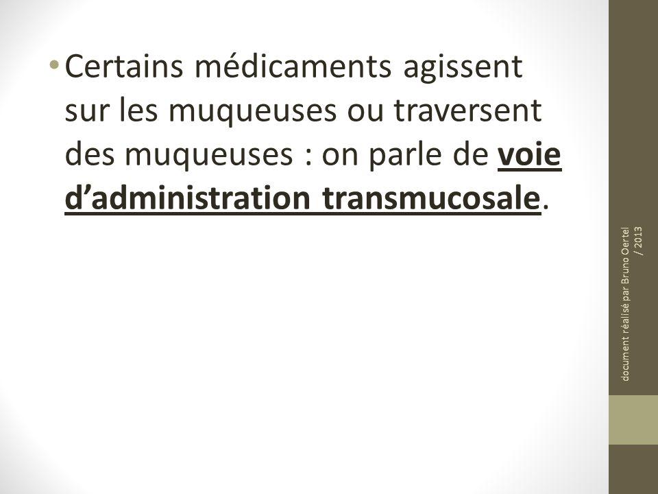 Certains médicaments agissent sur les muqueuses ou traversent des muqueuses : on parle de voie d'administration transmucosale.