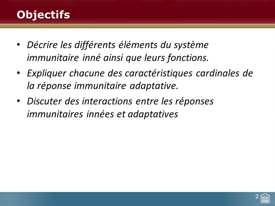 Objectifs Décrire les différents éléments du système immunitaire inné ainsi que leurs fonctions.